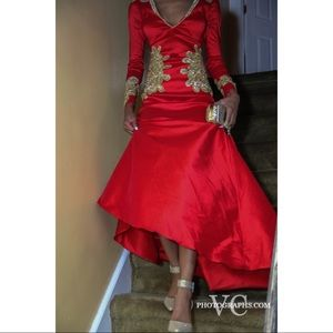 Dresses Red Silk Prom Dress With Gold Ensemble For Sale Poshmark